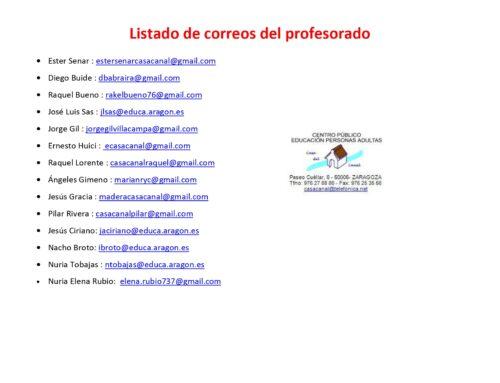CORREOS DE PROFESORES/AS