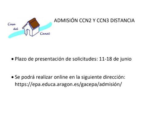 ADMISIÓN CCN-CCN3 DISTANCIA 2020/21
