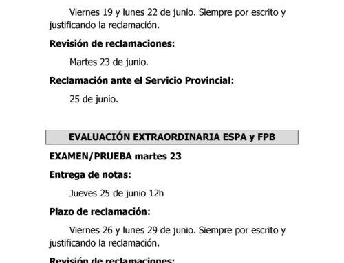 FECHAS EVALUACIÓN ORDINARIA ESPA Y FPB