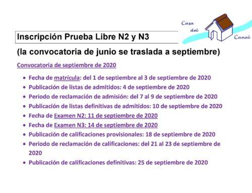 MATRÍCULA PRUEBA LIBRE CCN2 y CCN3