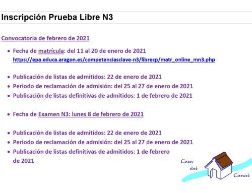 HAZ CLIC AQUÍ PARA INSCRIBIRTE EN LA PRUEBA LIBRE COMPETENCIAS N3