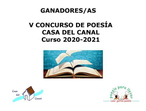 ENTREGA DE PREMIOS V CONCURSO DE POESÍA  CASA DEL CANAL