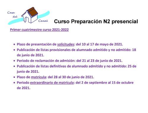 INSCRIPCIÓN CURSO DE PREPARACIÓN CN2 PRESENCIAL