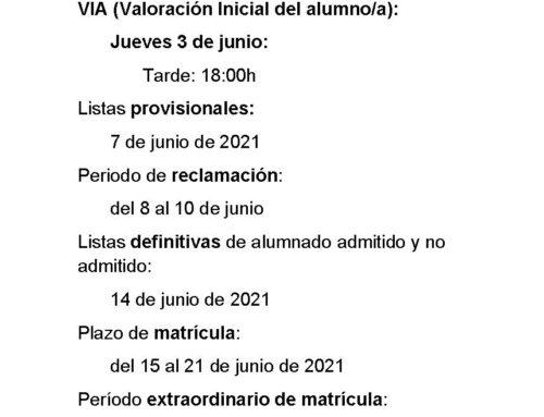 PLAZOS DE ADMISIÓN DE ESPA CURSO 21-22