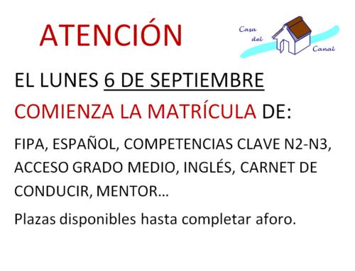 INICIO DE MATRÍCULA 21-22