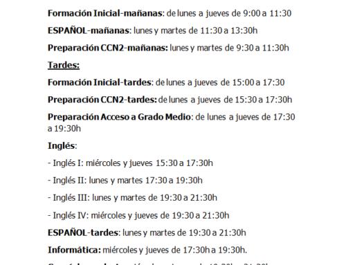 Horario enseñanzas 21-22